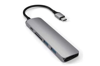 SATECHI Aluminium Slim USB-C MultiPort Adapter Version 2 - Space Grey