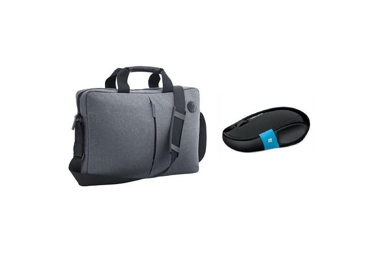 """HP Atlantis Carry Bag / Case with Microsoft Wireless Mouse for 14-15.6"""" Laptop/ Notebook  -Grey"""