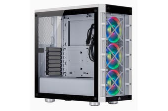 Corsair iCUE White 465X RGB Tempered Glass ATX MidTower Gaming Case 3X120 Front RGB Fan