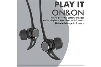 Promate FLOW.BLK Sporty Secure-Fit Stereo Wireless Earphones. IPX4 Water Resistant