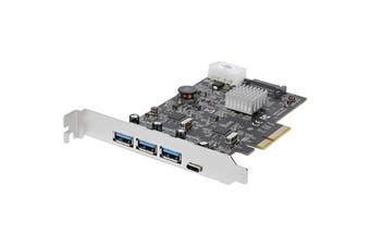 StarTech PEXUS313AC2V USB 3.1 PCIe Card - 3x USB-A and 1x USB-C - 2x Dedicated Channels - USB C PCIe