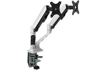"Loctek DLB508D 17""-30"" Double Monitor Ergonomic Gas Spring Arm White"