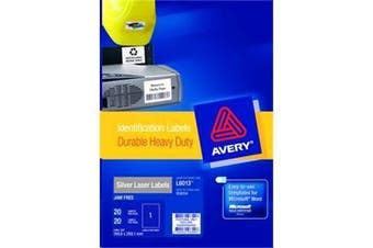 Avery Heavy Duty ID Label L6013 Silver 1 Up 20 Sheets Laser 199.6x289.1mm