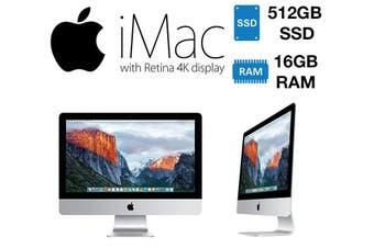 Apple iMac Retina 4K, 21.5-inch,/3.1GHz Quad-Core i5/16GB RAM/512GB Flash Storage/intel iris plus graphics 6200 - As New