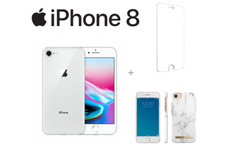 Bundle - Apple iPhone 8 64GB Silver -  Excellent Condition + Premium Case + Tempered Glass Screen Protector