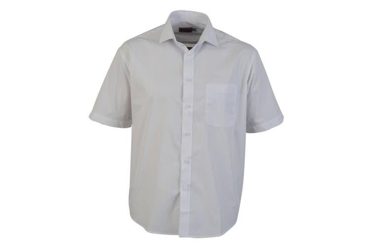 Absolute Apparel Mens Short Sleeved Classic Poplin Shirt (White) (L)