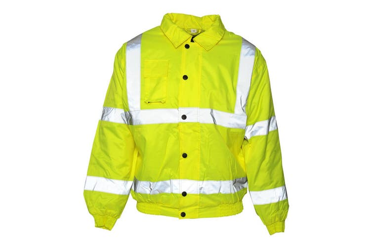 Absolute Apparel Mens Hi Viz Bomber Jacket (Saturn Yellow) (XL)