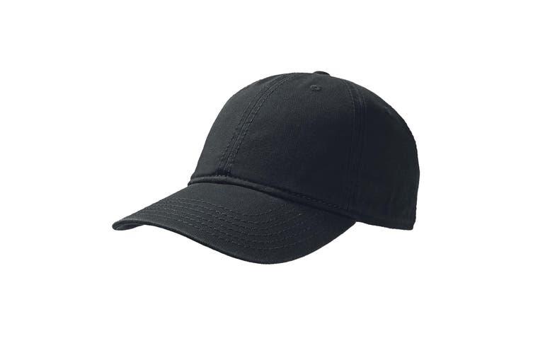 Atlantis Dynamic 6 Panel Denim Washed Baseball Cap (Black) (One Size)