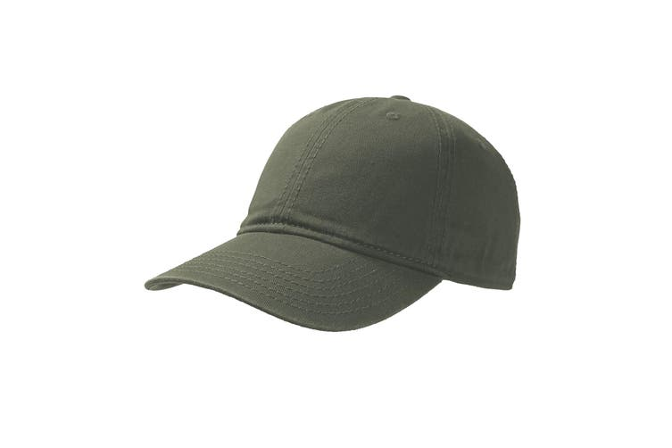 Atlantis Dynamic 6 Panel Denim Washed Baseball Cap (Olive) (One Size)