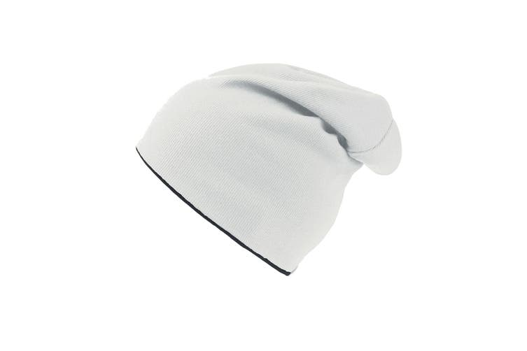 Atlantis Extreme Reversible Jersey Slouch Beanie (White/Black) (One Size)