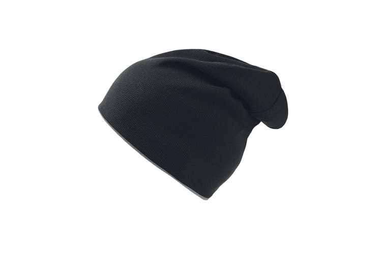 Atlantis Extreme Reversible Jersey Slouch Beanie (Black/Grey) (One Size)