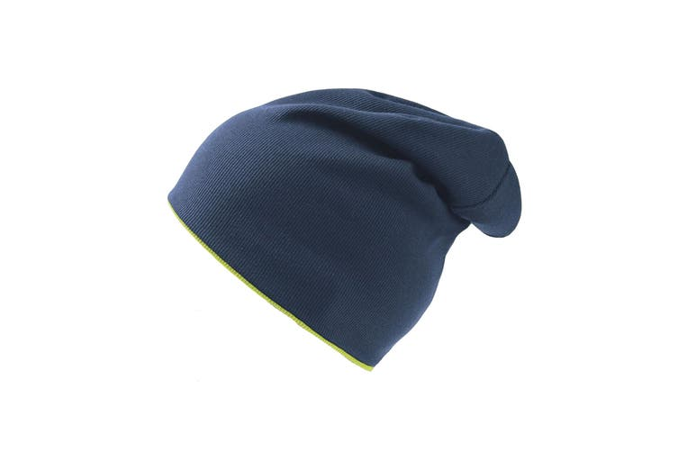 Atlantis Extreme Reversible Jersey Slouch Beanie (Navy/Safety Yellow) (One Size)