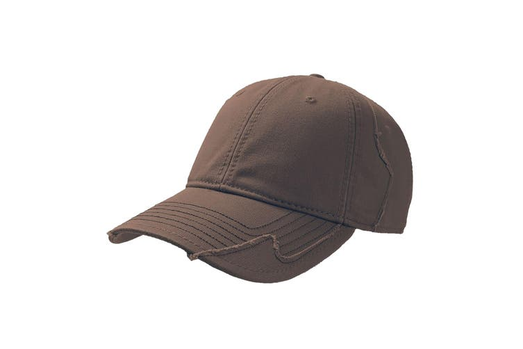 Atlantis Hurricane Weathered 6 Panel Cap With Raw Edges (Brown) (One Size)
