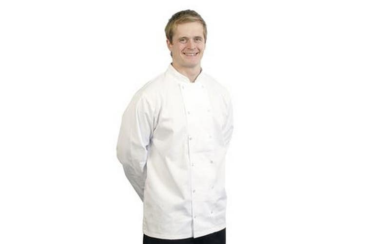 BonChef Adults Danny Long Sleeved Chef Jacket (White) (M)