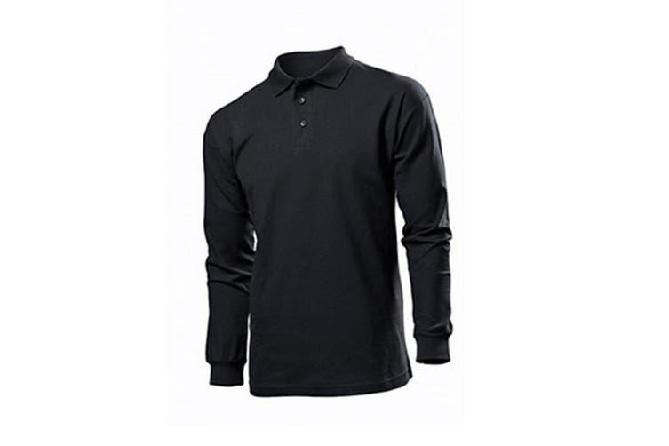 Stedman Mens Long Sleeved Cotton Polo (Black Opal) (2XL)