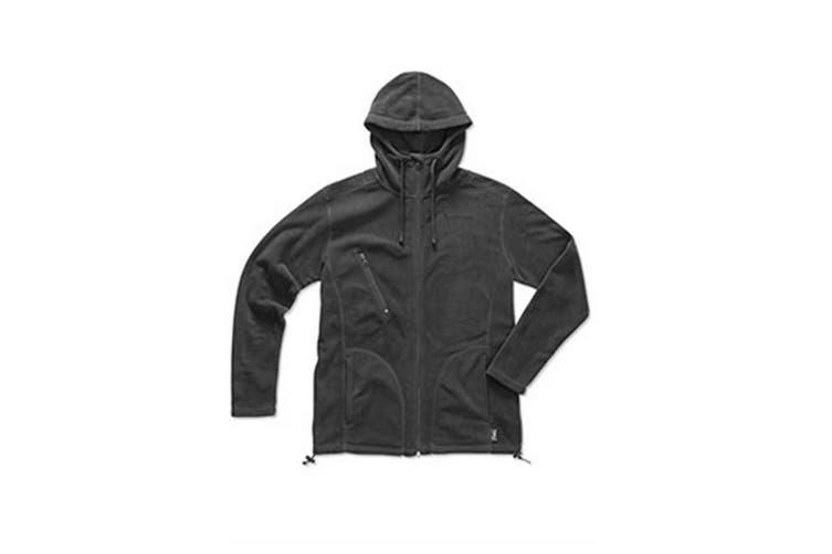 Stedman Mens Active Hooded Fleece Jacket (Grey Steel) (2XL)