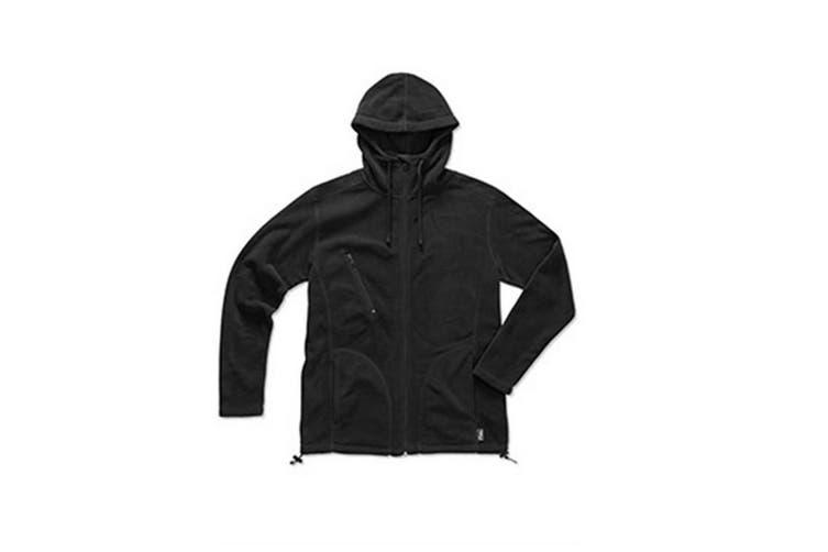 Stedman Mens Active Hooded Fleece Jacket (Black Opal) (S)