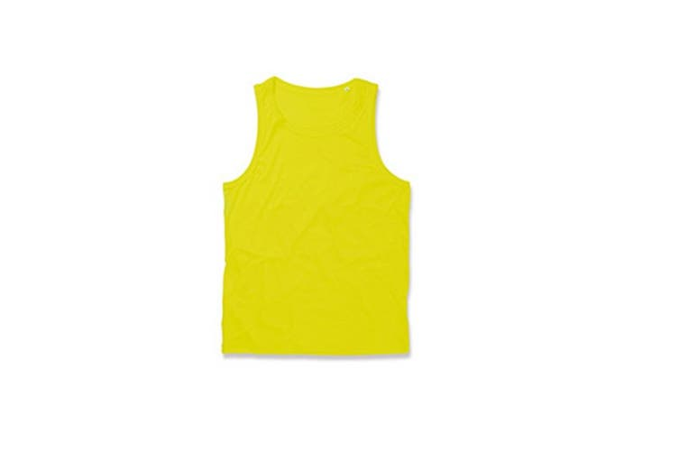 Stedman Mens Active Poly Sports Vest (Cyber Yellow) (XL)