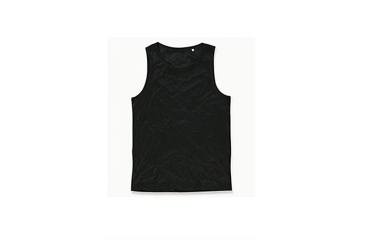 Stedman Mens Active Poly Sports Vest (Black Opal) (XL)