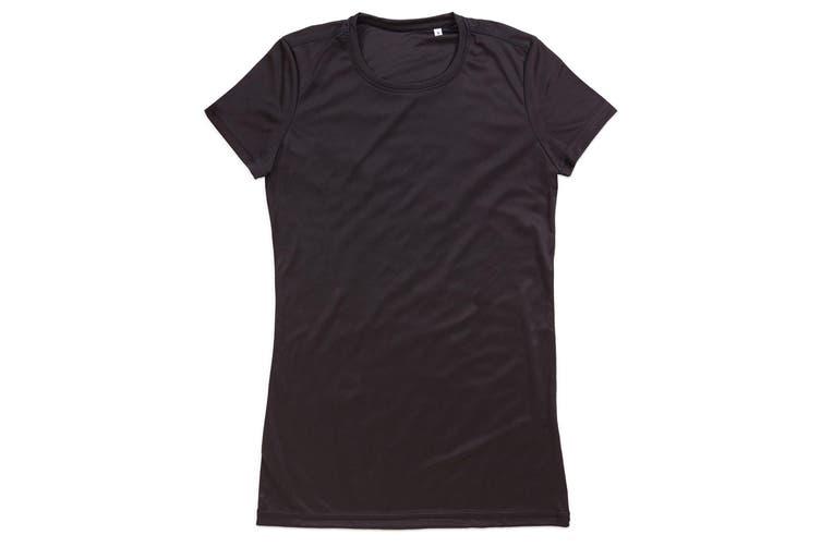 Stedman Womens/Ladies Active Sports Tee (Black Opal) (XL)