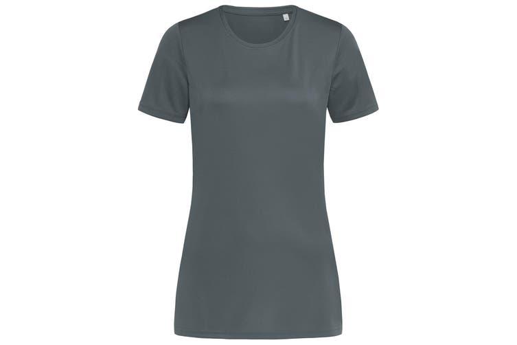 Stedman Womens/Ladies Active Sports Tee (Granite Grey) (XL)