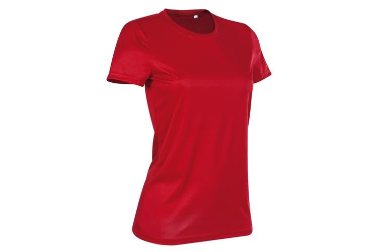 Stedman Womens/Ladies Active Sports Tee (Crimson Red) (L)