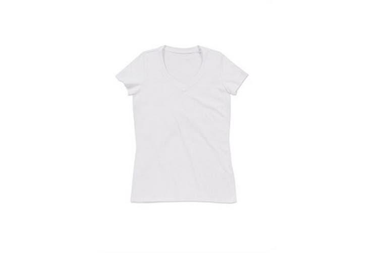 Stedman Womens/Ladies Janet Organic V Neck Tee (White) (L)