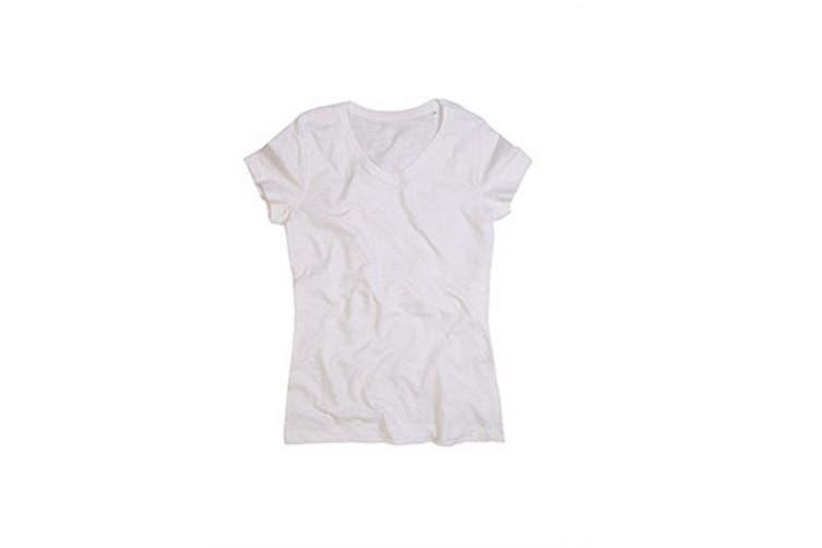 Stedman Stars Womens/Ladies Sharon Slub V Neck T-Shirt (White) (M)