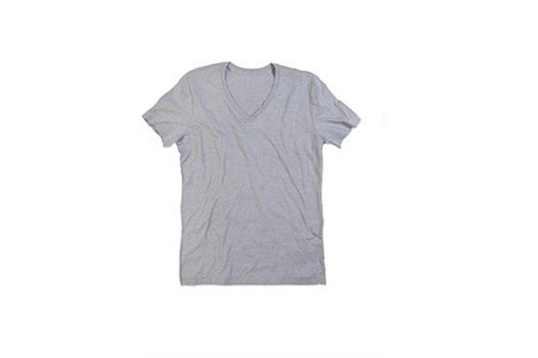 Stedman Mens Luke Melange V Neck T-Shirt (Heather Grey) (M)