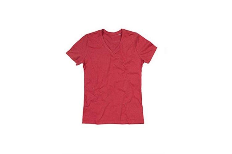Stedman Mens Luke Melange V Neck T-Shirt (Cherry Heather) (L)