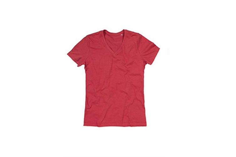 Stedman Mens Luke Melange V Neck T-Shirt (Cherry Heather) (M)