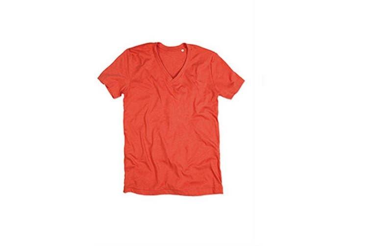Stedman Mens Luke Melange V Neck T-Shirt (Pumpkin Heather) (XL)