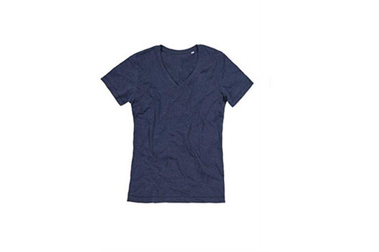 Stedman Mens Luke Melange V Neck T-Shirt (Navy Heather) (2XL)
