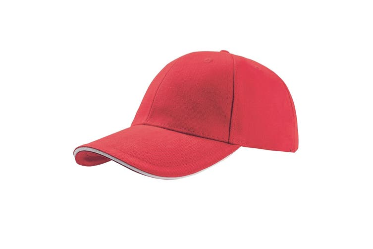 Atlantis Liberty Sandwich Heavy Brush Cotton 6 Panel Cap (Pack of 2) (Red) (One Size)
