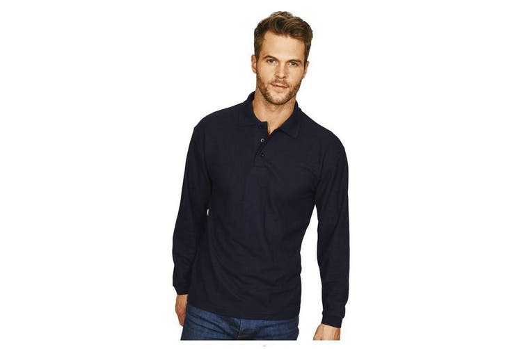 Casual Classic Mens Long Sleeve Polo (Navy) (M)