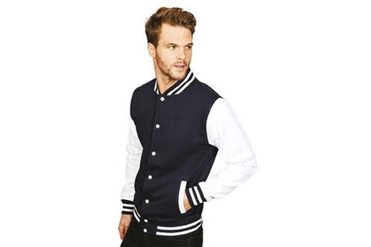 Casual Classic Mens Varsity Jacket (Navy/White) (XS)