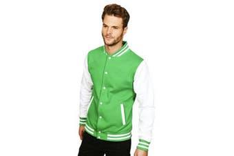 Casual Classic Mens Varsity Jacket (Kelly/White) (L)