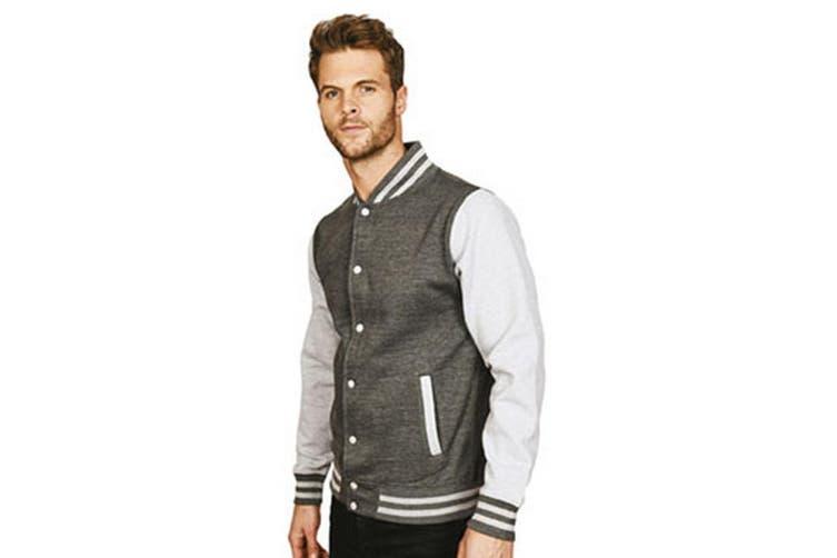 Casual Classic Mens Varsity Jacket (Charcoal/Sport Grey) (XL)