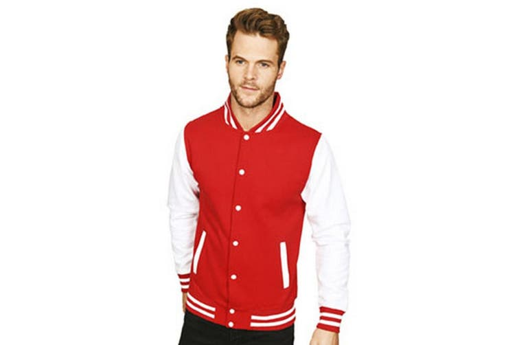 Casual Classic Mens Varsity Jacket (Red/White) (M)