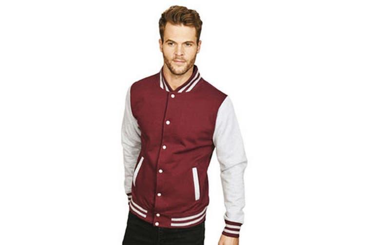 Casual Classic Mens Varsity Jacket (Burgundy/Sport Grey) (XS)