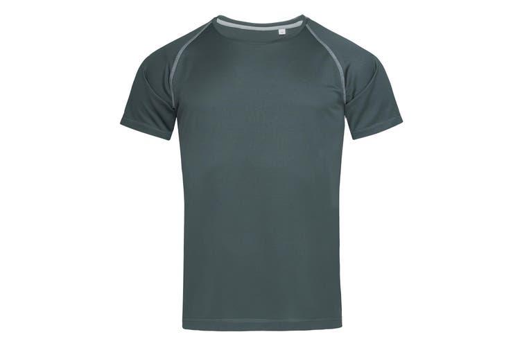 Stedman Mens Active Raglan T-Shirt (Granite Grey) (XL)