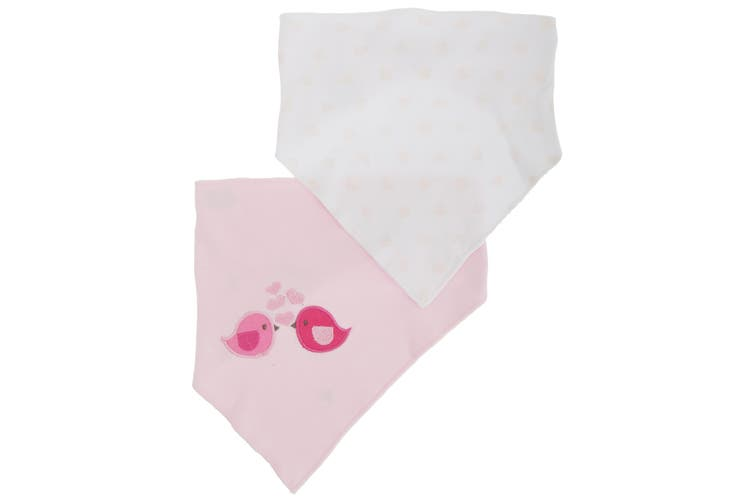 Nursery Time Baby Girls Birds/Hearts Bandana Bibs (Pack Of 2) (Pink) (One Size)