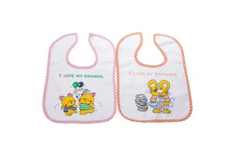 Baby Unisex Animal Design Bibs With Touch Fastening (Pack Of 2) (Option 1) (One Size)