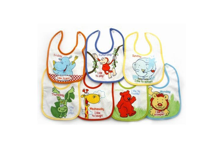 Newborn Baby Boy Bibs, Animals 7 Days Of The Week Baby Bibs (Pack Of 7) (As Shown) (One Size)