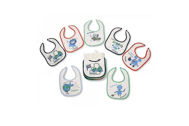 Baby Patterned 7 Days Of The Week Bibs In Boys & Girls Options (Pack Of 7) (Blue) (0-6 Months)