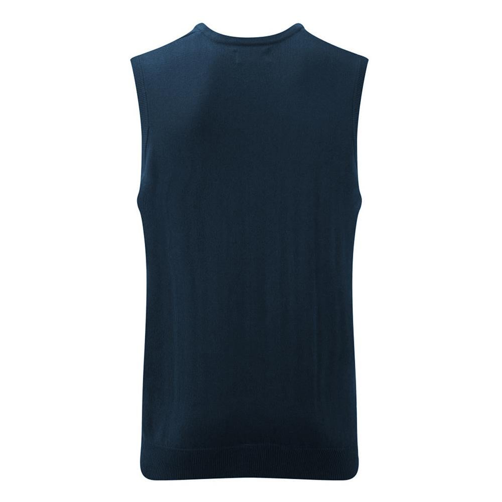 Russell Collection Mens V Neck Sleevless Knitted Pullover Top Jumper (French Navy) (XS)