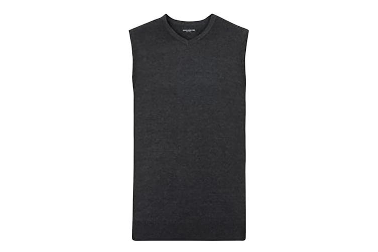 Russell Collection Mens V-Neck Sleevless Knitted Pullover Top / Jumper (Charcoal Marl) (XS)