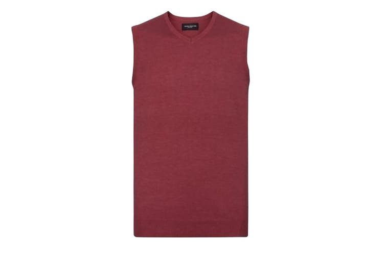 Russell Collection Mens V-Neck Sleevless Knitted Pullover Top / Jumper (Cranberry Marl) (S)