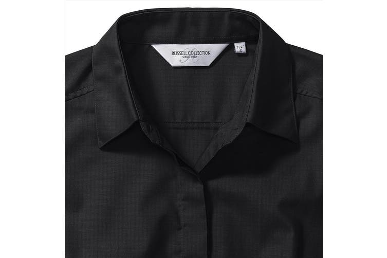 Russell Collection Ladies/Womens Long Sleeve Poly-Cotton Easy Care Fitted Poplin Shirt (Black) (XS)