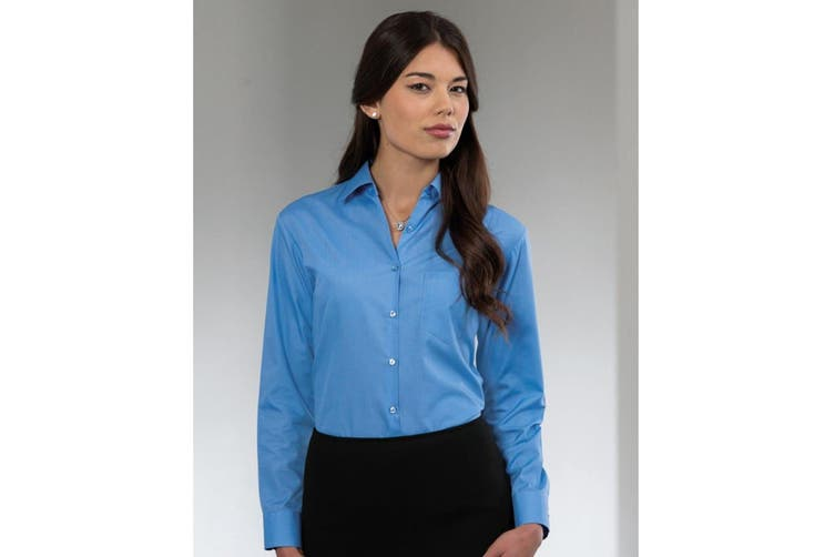 Russell Collection Ladies/Womens Long Sleeve Poly-Cotton Easy Care Fitted Poplin Shirt (Corporate Blue) (4XL)